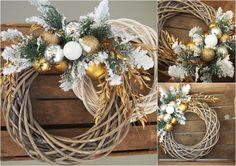 Dekoracje świąteczne. Wianek. /Chistmas decoration - gold ring.