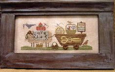 Delivering Needlework by Homespun Elegance chart $7.50 on ABC Stitch Therapy at http://www.abcstitch.com/designers_php/designers.php?page=5=Homespun+Elegance=