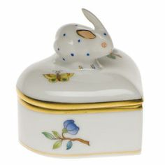 Herend heart box with bunny.