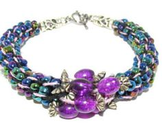 Purple Beaded Spiral Kumihimo Bracelet