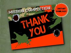 Nerf Thank You Cards - Nerf War Birthday Party by ParchmentSkies on Etsy https://www.etsy.com/listing/225807170/nerf-thank-you-cards-nerf-war-birthday