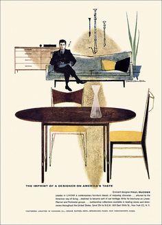 1958 ad for designer Paul McCobb. #20thCmod