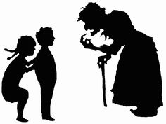 File:Hansel and Gretel and witch silhouettes.svg