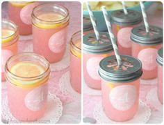 Pink lemonade in jars!