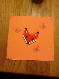 Perler bead card with fox by Yasmine de Graaf