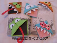 "Easy Origami Bookmarks -- Love the ""monsters""  This would be a fun thing to make after reading a story with an elementary class!"