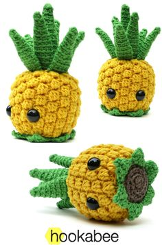 Bill the Pineapple amigurumi super cute kawaii summer mini gifts to make for friends makes a great bag charm or keyring buddy