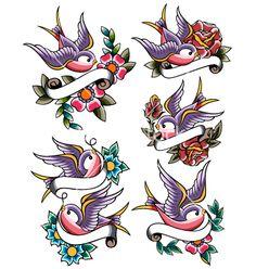 Swallow+tattoo+set+vector+785523+-+by+paul_june on VectorStock®