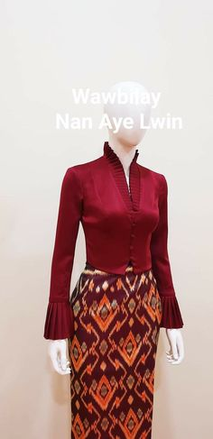 Traditional Dresses Designs, Thai Wedding Dress, Myanmar Dress Design, Myanmar Traditional Dress, Sleeves Designs For Dresses, White Short Sleeve Tops, Colourful Outfits, Trendy Dresses, Skirt Fashion