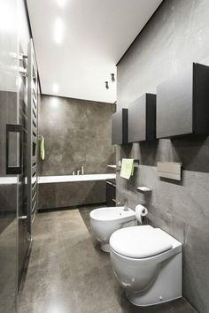 design salle bains moderne grise d'aspect béton