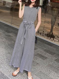 Bow Tie Detail Casual Cutout Striped Jumpsuit in 2020 Stylish Summer Outfits, Stylish Dresses For Girls, Casual Dresses, Casual Outfits, Floral Skirt Outfits, Dress Outfits, Fashion Dresses, Kurti Designs Party Wear, Pakistani Dress Design