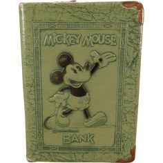 Vintage Mickey Mouse Coin Bank Book – 1930's Zell Products