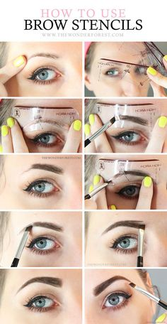 augenbrauen-schminken-mit-puder-gelber-nagellack-blaue-augen-perfektes-make-up-anleitung для начинающих Brow Stencils, Eyebrow Stencil, Eye Stencil, Eyebrow Makeup Tips, Skin Makeup, Makeup Brushes, Makeup 101, Eyebrow Brush, Makeup Tricks
