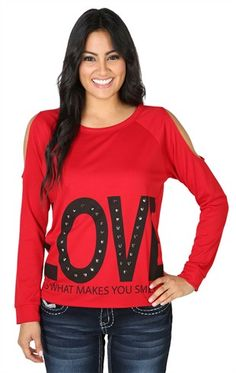 Deb Shops Long Sleeve Top with Love Screen, Stones Studs, and Cold Shoulders $14.63