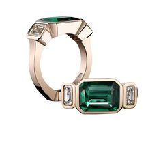 Robert Procop Exceptional Jewels collection 3.56ct emerald cut Emerald East West ring