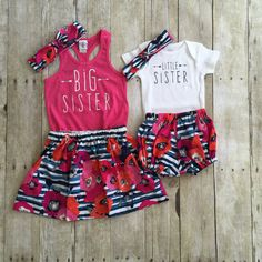 Absolutely adorable girls big sister and little sister outfit! Listing includes…