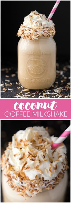 Coconut Coffee Milkshake - Cold, creamy and luscious! This is the drink you want to be sipping as you enjoy a day relaxing in the sun.