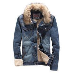 Мужская зимняя утолщение плюс бархат джинсовые верхняя одежда мужской тонкий меховой воротник высокое качество пуховик Большой размер теплый джинсовые пальто