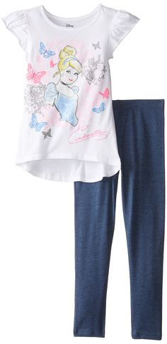 Disney Little Girls' Cinderella Top and Legging Set, White/Pink, 6X. Flutter sleeve tunic. Puff ink verbiage and glitter screen-print.