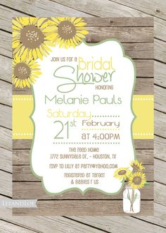 Rustic country sunflower bridal shower invitations bridal showers rustic bridal shower invitation sunflowers mason jar by leeandloe filmwisefo