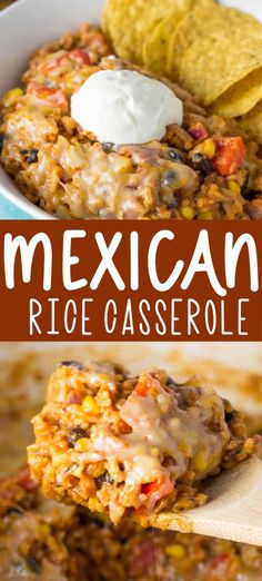 Mexican Rice Casserole easy meatless dinner and it makes a ton! Yummy mexican rice casserole - serve with sour cream and chips or roll it up in an enchilada! Vegetarian Mexican Rice, Mexican Cooking, Vegetarian Recipes, Cooking Recipes, Cooking Tips, Rice Casserole, Casserole Recipes, Easy Mexican Casserole, Le Diner
