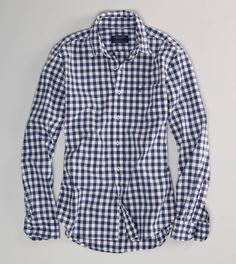 Simply roll up the sleeves of this AE Archival Plaid Shirt for that chill summer look!