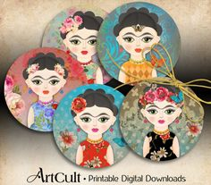 2.5 inch size images FRIDA KAHLO inspired Printable Digital sheet for Pocket Mirrors cupcake toppers Paper Weights Gift tags ArtCult designs