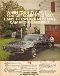 "hideelee: "" AMC Javelin. February 1972. This kid just looks like he wishes his parents had bought a Mustang, Camaro, or Firebird. """