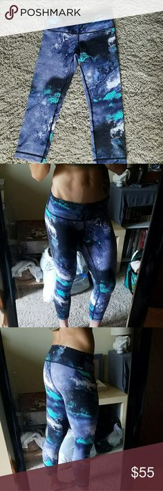 NWOT Lululemon blue grey teal marble pattern crops New without tags. Rip tag still attached. Beautiful blue, grey, and teal marble pattern. lululemon athletica Pants Ankle & Cropped