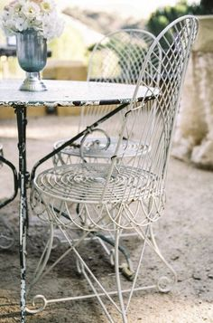 Los Olivos Wedding from Braedon Photography French Country Cottage, French Country Style, French Farmhouse, Shabby Cottage, Wrought Iron Garden Furniture, Iron Furniture, Outdoor Furniture, Garden Yard Ideas, Vintage Interiors