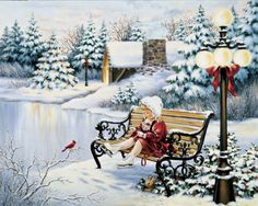 Mosaic snow and children diy diamond painting cross-stitch kit full square diamond embroidery landscape arts wall painting Christmas Scenes, Noel Christmas, Vintage Christmas Cards, Christmas Pictures, Christmas And New Year, Vintage Cards, Winter Christmas, All Things Christmas, Christmas Crafts