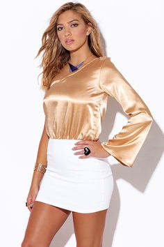 Cute cheap champagne beige satin one shoulder white pencil cocktail party club mini dress
