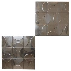 1970s, Set of 11 French Metal Decorative Panels of Relief Geometrical Figures   From a unique collection of antique and modern wall-mounted sculptures at https://www.1stdibs.com/furniture/wall-decorations/wall-mounted-sculptures/