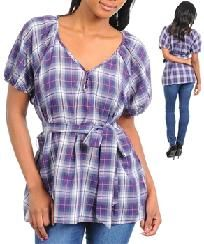 FREE SHIPPING Plaid Checks Puff Short Sleeve Plus Size Casual Top Blouse XL,2X,3X