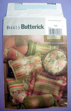 Butterick B4413 Package includes patterns and instructions to make eight throw pillows. Square, Round, Rectangle, Neck Roll Home Decor Sewing Pattern Uncut
