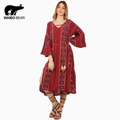 Boho Style Women V Neck Dress Summer Loose Party Sexy Beach Pullover Long Dresses Plus Size Femme Vestidos Like it? www.lady-fashion.... #shop #beauty #Woman's fashion #Products