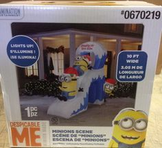 new 10 minion naughty or nice slide despicable me christmas airblown inflatable - Minion Christmas Yard Decorations