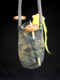Drop spindle bag, hand felted