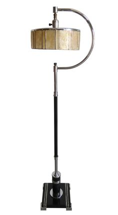 American Art Deco Floor Lamp With Mica Shade