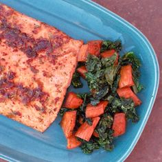 Salmon with Chipotle Lime Glaze, served with sweet potatoes and Kale