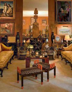 The Yves Saint Laurent- Pierre Bergé apartment, with Art Deco benches by Gustave Miklos (foreground) and works by Théodore Géricault and Pablo Picasso