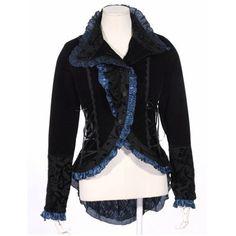 Sexy Black Velvet Victorian Gothic Vampire Dress Tail Jacket Women SKU-11401024
