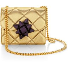 Marc Jacobs Mini Trouble Bag In Metallic Gold With Violet Party Bow