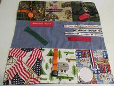 Alzheimer's Fidget Blanket Alzheimer's Masculine /Military Fidget Blanket / Dementia / Restless Fingers Sensory Blanket Fidget Blanket by PiddlinAround on Etsy