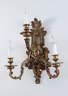 "French Antique Three-light Diana & Bacchus Bronze Sconce Origin: France. Circa: 1900. Dimensions: Width: 14.50"", Depth: 9.50"", Height: 19""."