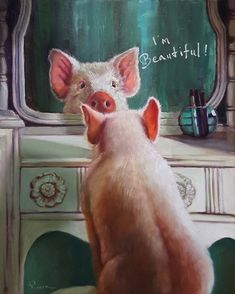 Stupell Industries 'I'm Beautiful' Painted Pig Illustration Wall Art Animals And Pets, Baby Animals, Funny Animals, Cute Animals, Stretched Canvas Prints, Canvas Art Prints, Pot Belly Pigs, Pig Illustration, Pig Art