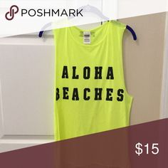 Victoria's Secret PINK tanktop Neon yellow tank top from PINK. Perfect for summer!!!!! PINK Victoria's Secret Tops Tank Tops