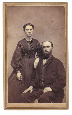 Very interesting bodice--perhaps an alteration for growth? She's quite a bit younger than he is--short hair too. Victorian Life, Vintage Couples, Shorter Hair, Chic Clothing, American Civil War, Fashion Plates, Vintage Photography, Vintage Images, Old Photos