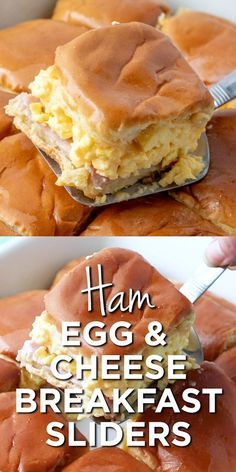 egg recipes These breakfast sliders are layered with rolls, ham slices, sliced cheese, scrambled eggs and melted butter. Perfect for breakfast on the go! Delicious Breakfast Recipes, Brunch Recipes, Gourmet Recipes, Cooking Recipes, Yummy Food, Breakfast Slider, Breakfast On The Go, Breakfast Dishes, Breakfast Ideas