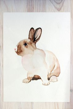 original watercolor painting bunny painting rabbit painting 28,2x21cm (approx.11.24x8.4inch)